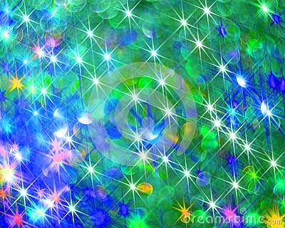 The background of shining colorful stars on blue. Stock Photo