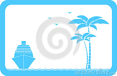 Background with ship, palm and seagull