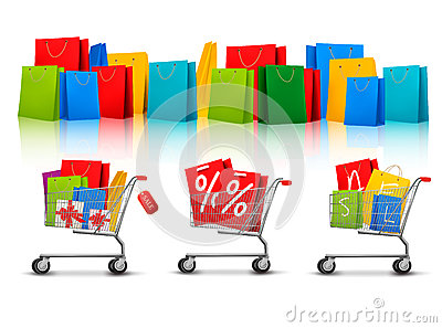 Background with shopping color bags