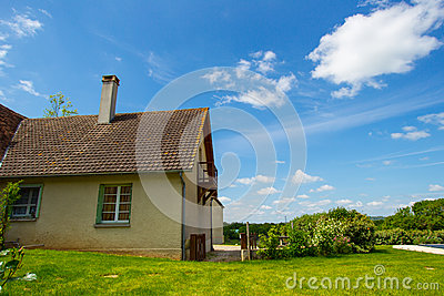 Background of sky and grass and house