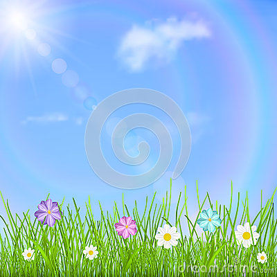 Background with sky, sun, clouds, rainbow, grass and flowers Stock Photo
