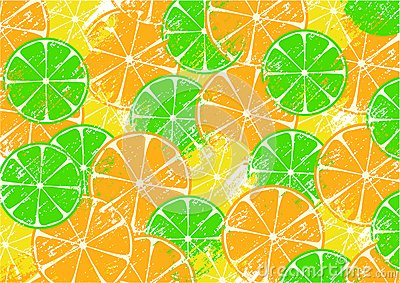 Background with slices of fruits