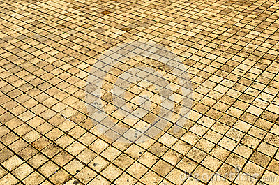 Background of small brick floor