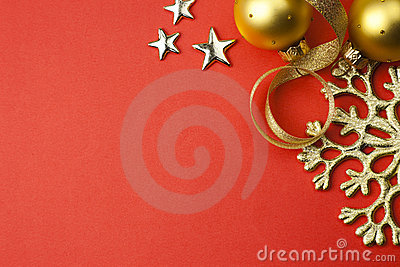 Background with snowflake, stars and baubles