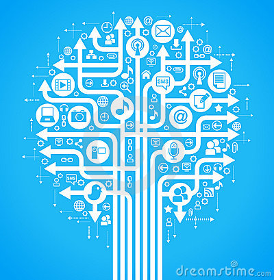 background social network tree blue