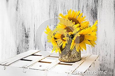 Background still life flower sunflower wooden white vintage