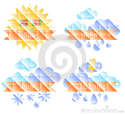 Background with sun, clouds, rainbow and rain Vector Illustration