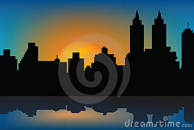 Background with sunset and skyscrapes
