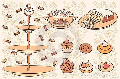 Background with sweet cakes.