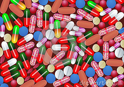 Background with tablet pill and capsule medicine