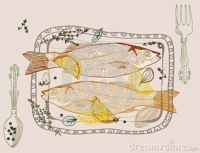 Background with fish dish