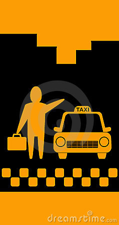 Background with taxi and businessman with portfoli