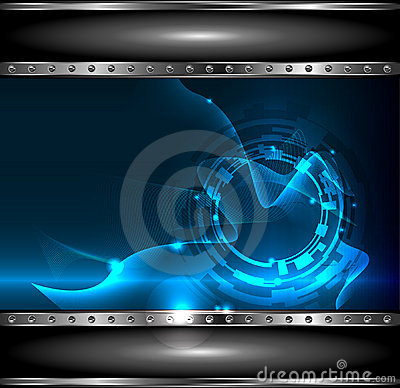 Free Background Technology With Metallic Banner, Vecto Royalty Free Stock Image - 22987166