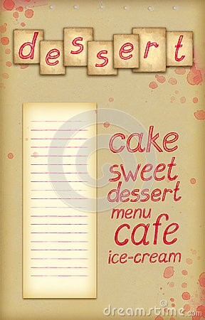 Background with text of dessert