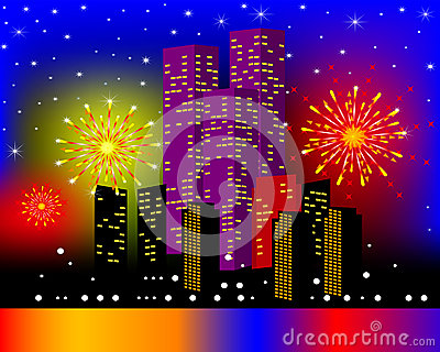 Background townhouses with festive firework