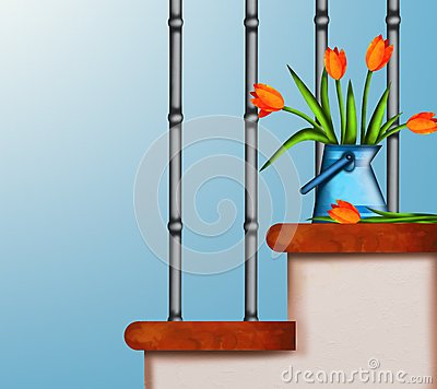 Tulips on stairs