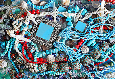 Background - turquoise and pearls