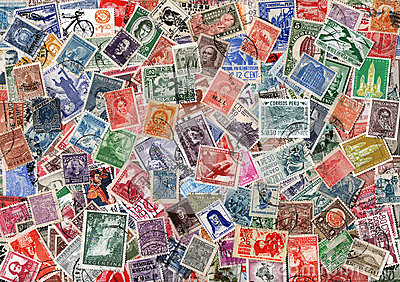 Background of used Latin American postage stamps