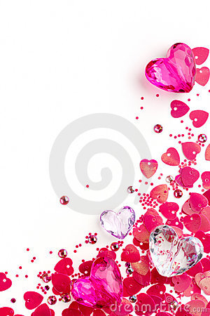 Background for valentine card with glass hearts