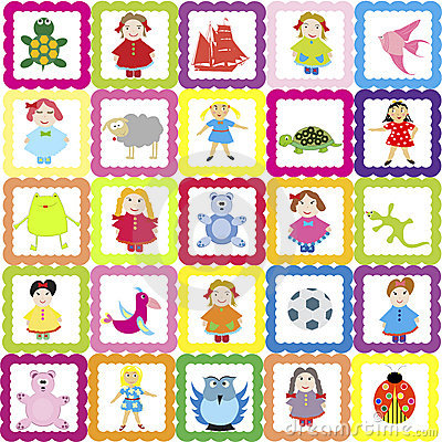 background with various toys, for kindergarten