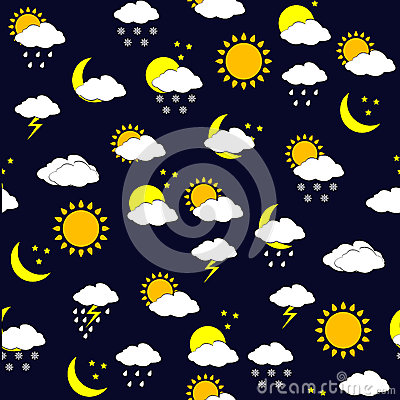 Background with weather forecast icnons, seamless