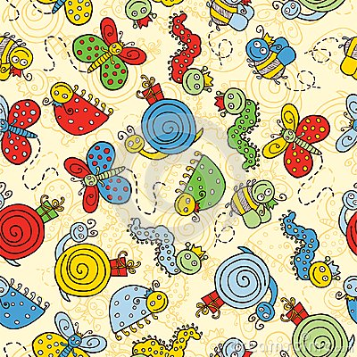 Free Background With Cartoon Insects Stock Image - 25600551