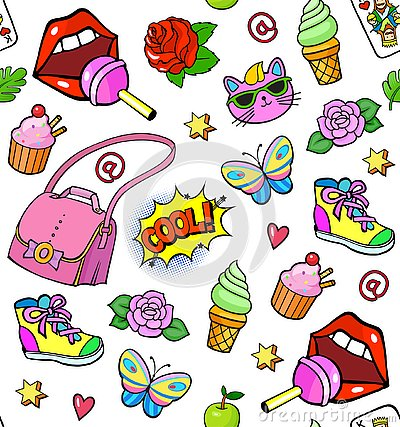 Free Background With Fashion Stickers Stock Image - 125428751