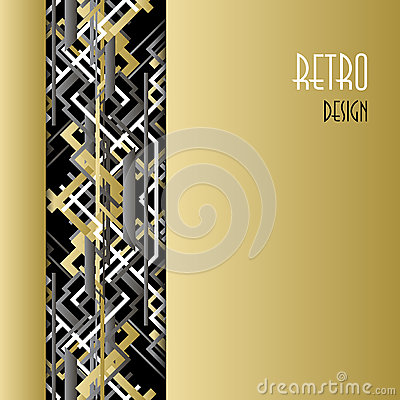 Free Background With Golden Silver Black Art Deco Outline Style Design. Royalty Free Stock Images - 64887789