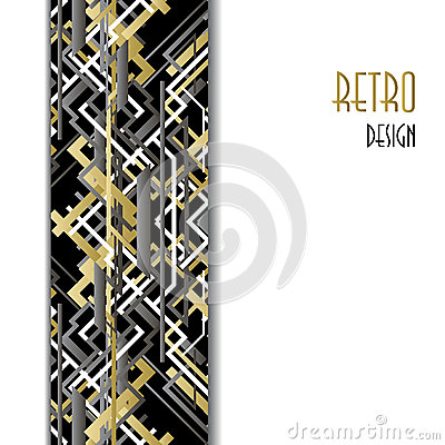 Free Background With Golden Silver Black Art Deco Outline Style Design. Stock Images - 64888034