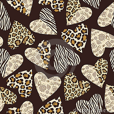 Free Background With Hearts With Animal Skin Pattern. Stock Images - 17851484