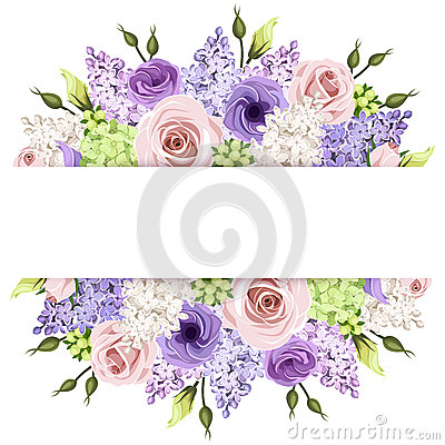 Free Background With Pink, Purple And White Roses And Lilac Flowers. Vector Eps-10. Royalty Free Stock Photography - 53265917