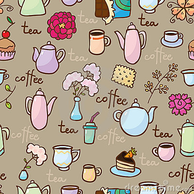 Free Background With Teapots, Coffepots, Cups And Sweet Royalty Free Stock Images - 18563219