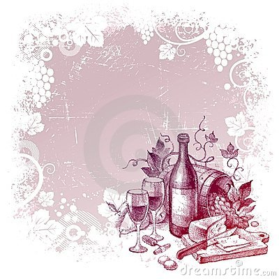 Free Background With Vintage Wine Still Life Stock Photography - 15377542