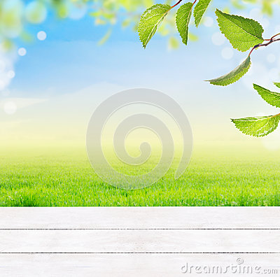 Free Background With White Wooden Table,grass,green Leaves,blue Sky,grass And Bokeh Royalty Free Stock Photography - 47957287