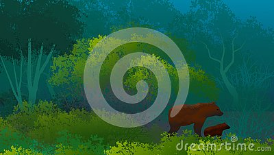 Background with woodland landscape with grizzly bears, mother and calf, among the density of the vegetation. Stylized. Illustratio Stock Photo