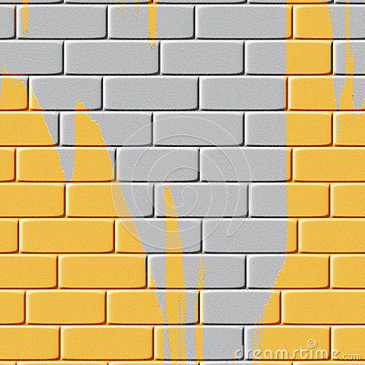 Background of yellow painted brick wall