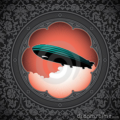 Background with zeppelin.