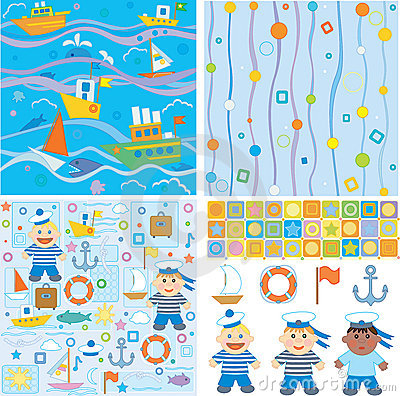 Backgrounds and design elements for baby boy