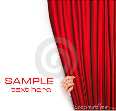 Backgrounds with red velvet curtain. Vector