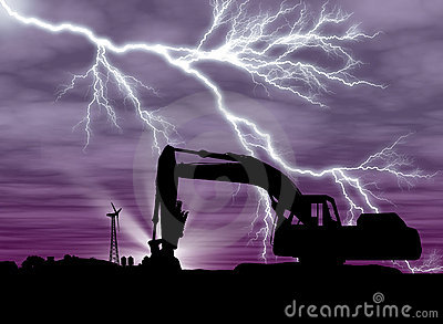 Backhoe with lightning