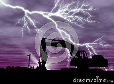Backhoe with lightning