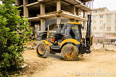 Backhoe Loader In Construction Area