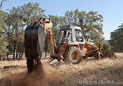 Backhoe out in the field