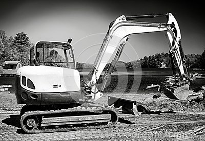 Backhoe Working on Beach B&W
