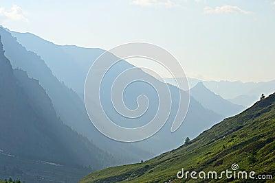 Backlight alpine silhouette
