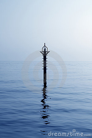 Backlight beacon in Mediterranean blue sea