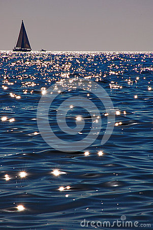 Backlight sailing boat