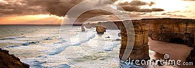 Backlit 12 Apostles golden sunset