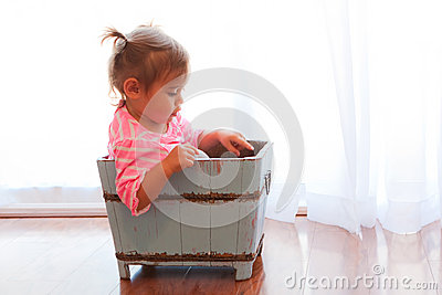 Backlit baby in wooden box