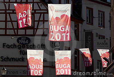 Backlit BUGA Banners Editorial Stock Photo